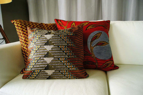 "16"" Throw Pillow Vlisco Wax Print Ankara Sofa Cushion Covers Complete Pillow"