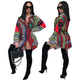 Women African Print long sleeves classic print clubwear casual mini shirt dress