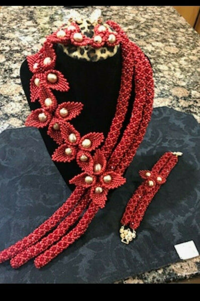 Luxury Good Quality Beads Jewelry Sets For African Wedding Red Color