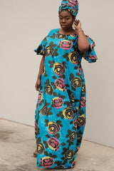 Women African Print 2pcs full length multi color floral free gown Dress all sz