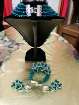 Luxury Good Quality Beads Jewelry Sets For African Wedding Teal/Silver Color