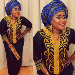 *African New* Bazin Embroidery Long Dress For Women without Scarf Soft Material
