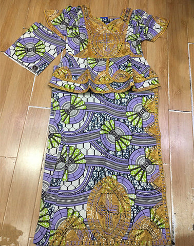 Bazin Rich Embroidery African Long Women Caftan Dashiki Kitenge Dress and Scarf
