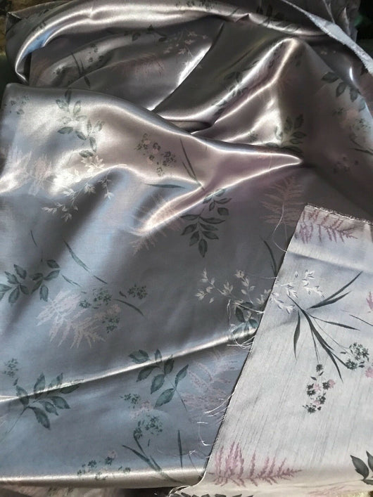 Reversible Grey Floral Satin Fabric by the yard