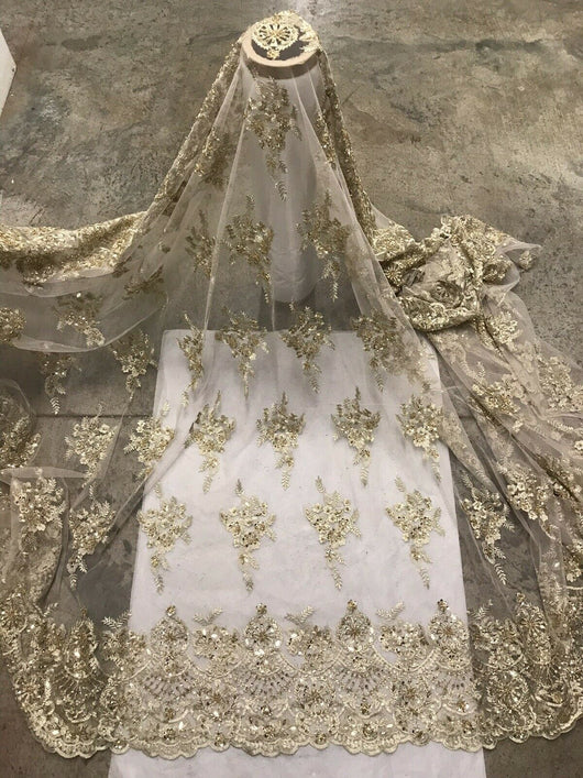 """Black Gold Stretch Sequins Embroidered Lace  Fabric 50"""" Width Sold By The Yard"""