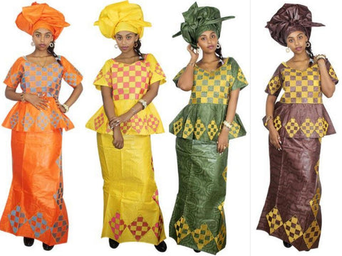 Women African Cloths Bazin Riche Two Piece Set Traditional Dress + Head Scarf