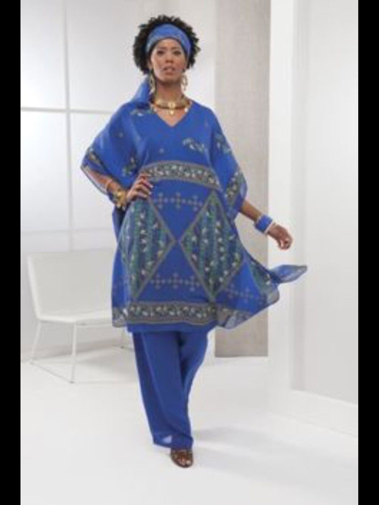 Ashro Blue Gold Ethnic African American Pride Pant Suit Head Scarf Included  Size 1X