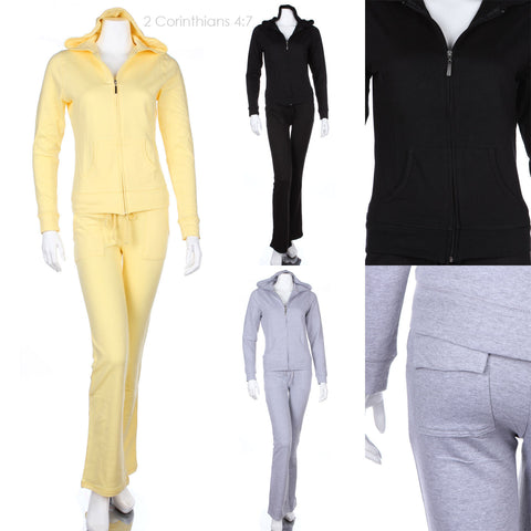 Solid Cotton Tracksuits Zip Up Hoodie Sweatpants Drawstring Flap Pockets Comfort