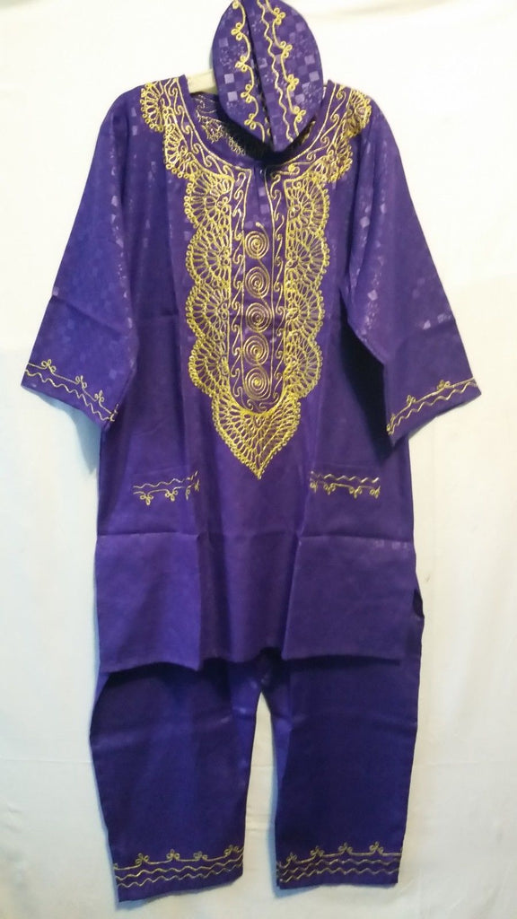 0f33ed11c20b African Men s Pant suit Brocade Print Traditional clothing One Size Purple  ...