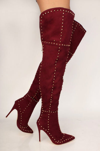 2020 Luxury Wine or Grey Studded Pointy Toe Thigh High Heel Boots Faux Suede size 8
