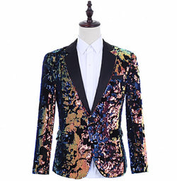 singers Flip Colorful sequins blazer men suits designs jacket mens stage clothes dance star style dress punk rock