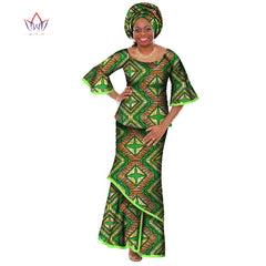 summer traditional african clothing dashiki O-Neck women african skirt suits natural ankle-length two piece set regular WY428 1 2