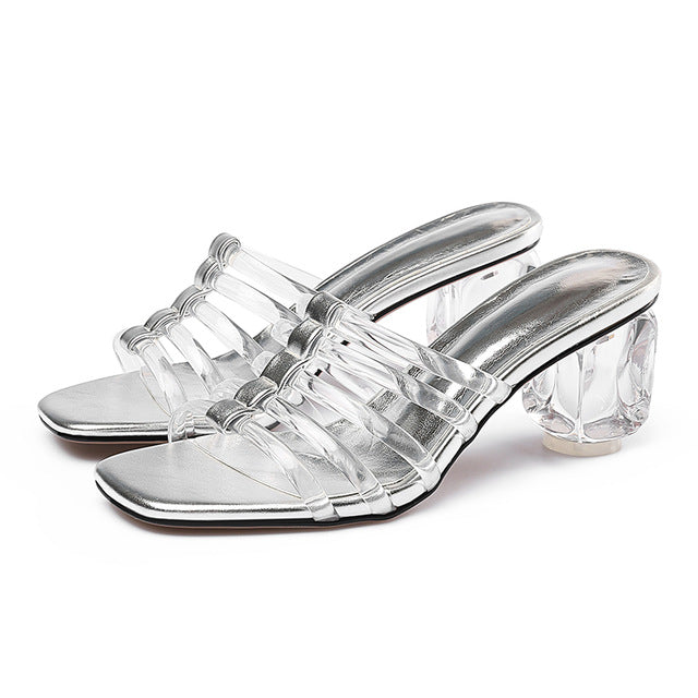 ea24200f51 Hover to zoom · transparent stranger heels sweet mules slippers woman slip  on ...