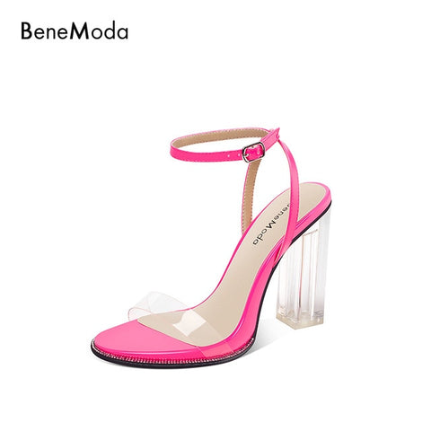 transparent strap yellow chunky heel 2019 summer chic sexy high heel ladies sandal
