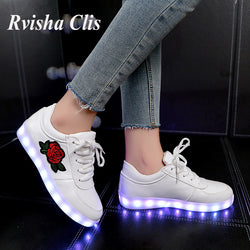 usb charge 26-44 EUR Size PU leather glowing sneaker girls shoes illuminated Luminous Sneaker boy & baby  Led shoes tenis  1