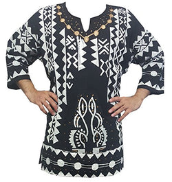 Mens African Dashiki Shirt Mudcloth Organic Cotton Vintage Hippie Top Blouse One Size