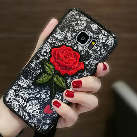 Luxury Phone Cases For Samsung Galaxy A8 Plus 2018 A5 A3 A7 J1 J5 J3 J7 2017 2016 S8 S9 S6 S7 Edge Note 8 5 Case Rose Back Cover