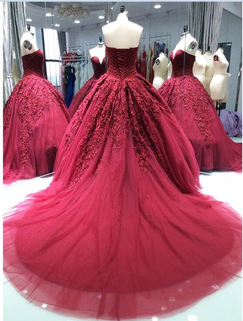 Luxury Princess Wine Red Wedding Dresses 2018 New Ball Gown