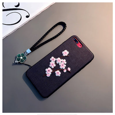 For Samsung galaxy s8 s9 plus note8 China style Luxury Simple Cute Embroidery Plum Flower cloth materials soft phone case cover