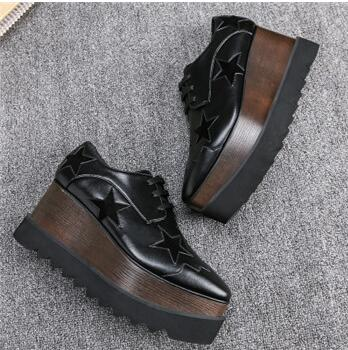 0df23295 ... Image of 2018 Star Metallic Leather High Platform Lace Up Women Casual  Shoes Comfort Creepe Weave ...