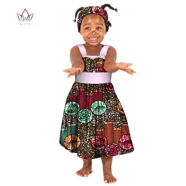 44f5db00ee3 Hover to zoom · African Bazin Riche Kid Dresses 2018 Dashiki Patchwork Cute  Girls Dresses African ...