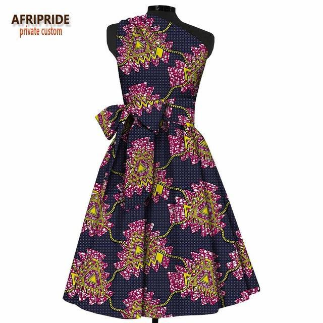 f63c8a04964 ... 2018 fashion african summer dress for women AFRIPRIDE sleeveless one-shoulder  mid-calf length ...