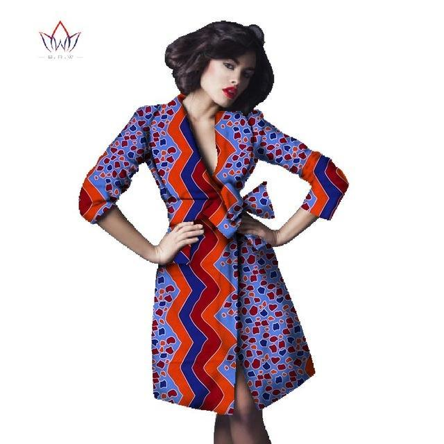 eb2874c021d Hover to zoom · 2018 Africa Print Trenchcoat for Women Dashiki Plus Size  africa clothing ...
