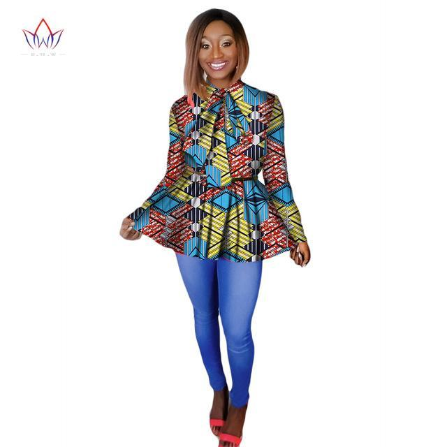 4552913280d 2018 African Print Wax Shirt for Women Dashiki Long Sleeves Africa Clothing  Plus Size Traditional African. Hover to zoom