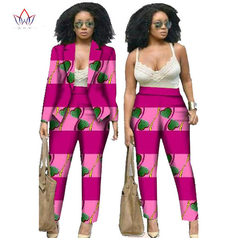 African Dresses for Women Suits Women Winter Two Piece Set Top and Pants Women Blazers and Jackets Women Clothes 6XL BRW WY019