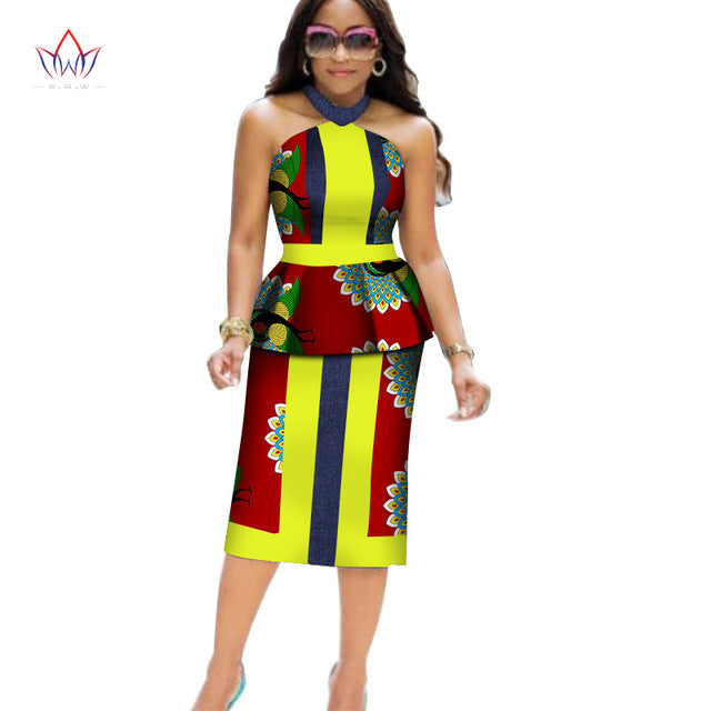 76bf51bda Africa Style Two Piece Short Set for Women Summer Dashiki Crop Top and Skirt  Africa Clothes. Hover to zoom