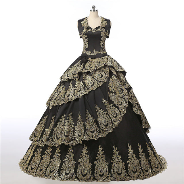 ... Vintage Quinceanera Dresses 2018 Black Ball Gown Gold Appliques Lace Vestidos  De 15 Anos Sweet 16 599f8243484c