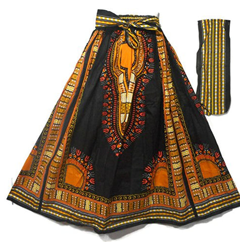 Women African Dashiki Print Casual A Line Maxi Skirts Cotton Bright Colors One Size