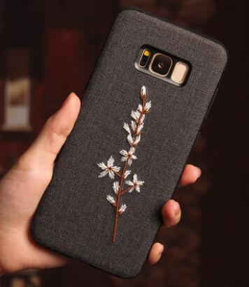 Retro Embroidery Case For Samsung Galaxy Note 8 Case Fabric Rose Flower Leaves Soft Cover For Samsung Galaxy S9 S8 Plus Case