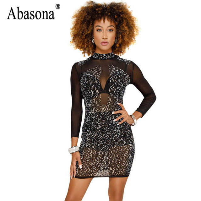 5d3c71e9a1 Abasona Women Diamond Rhinestone Dress Sexy Sparkle Long Sleeve Bodycon  Dress Female Sexy Party Club Wear Black White Mesh Dress