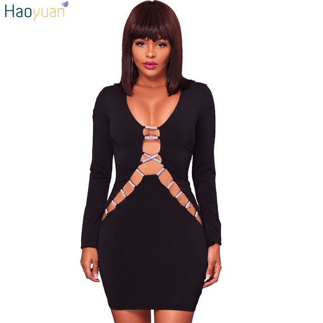 HAOYUAN Plus Size Bodycon Bandage Dress 2017 Autumn Black White ...
