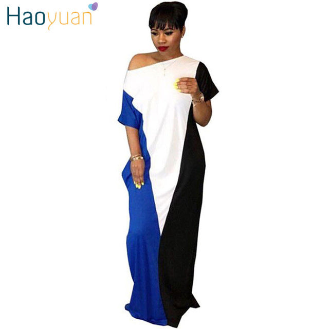 8a2f742d986f HAOYUAN Women Summer Dresses 2018 New Plus Size Patchwork Casual Loose  Oversized Sundress Vestidos Robe Sexy. Hover to zoom