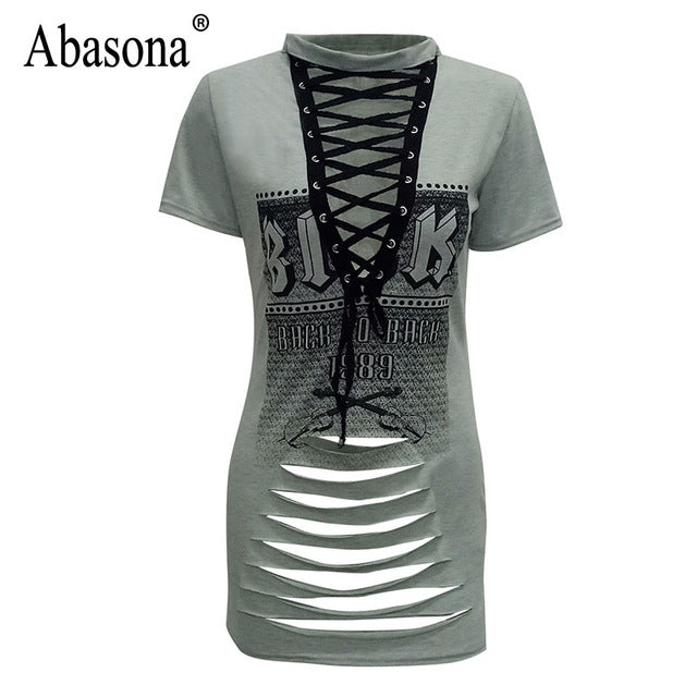 25a135ea8a4 ... T Shirt Dress Short Sleeve Printed Women Summer Dress Mini Cut Out.  Hover to zoom