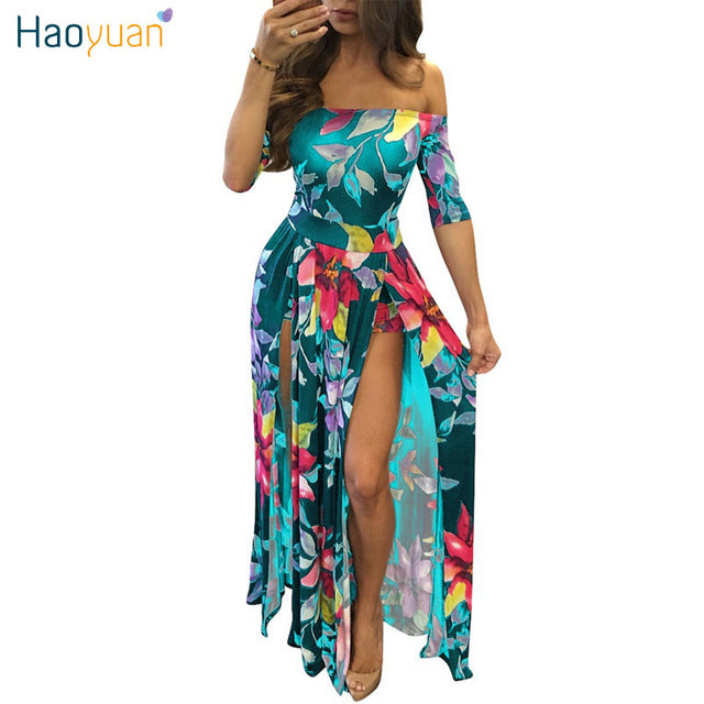 ef6bea8862 ... HAOYUAN Off Shoulder Long Maxi Dress Women Summer Plus Size Clothing  Backless Bodycon Floral Print High ...