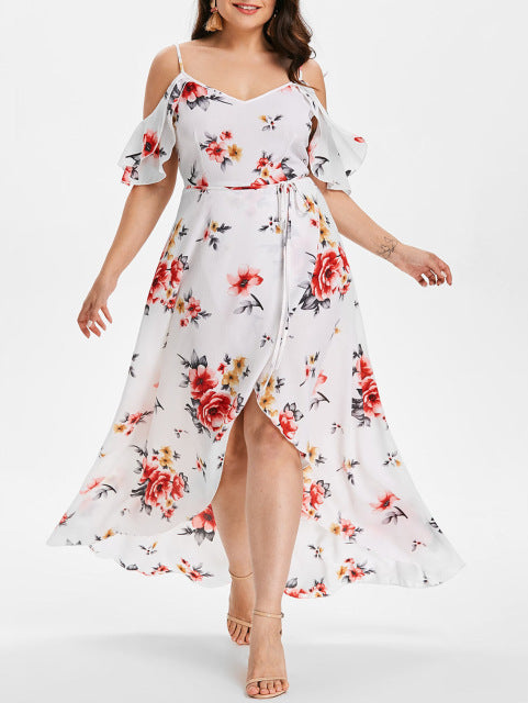 b632d5990dd21 AZULINA Plus Size Cold Shoulder Belt Overlap Dress Women Spaghetti Strap  Half Sleeves Floral Print Dresses. Hover to zoom
