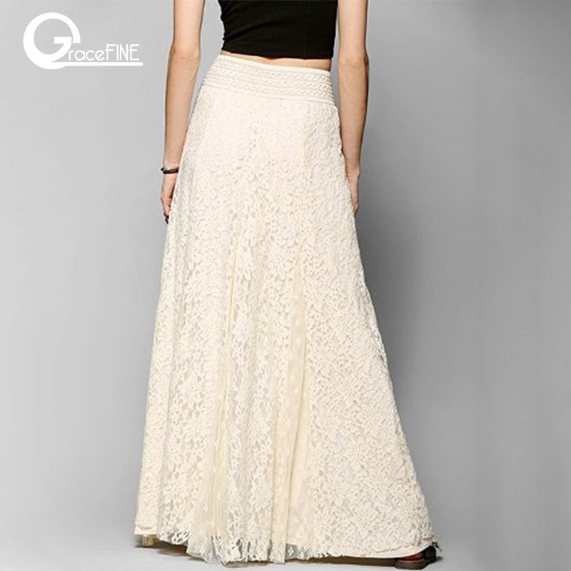 00ee44c186be white cotton long lace skirt Summer Beach Wedding Skirt Retro Wedding Look  Pleated Tulle Skirts Female. Hover to zoom