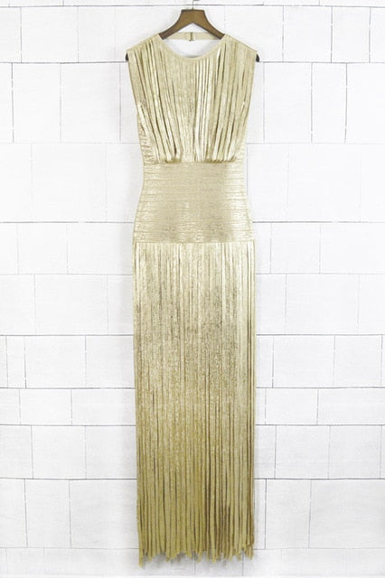 Wholesale New Long Dress Gold And Black Tassel Tight Fashion