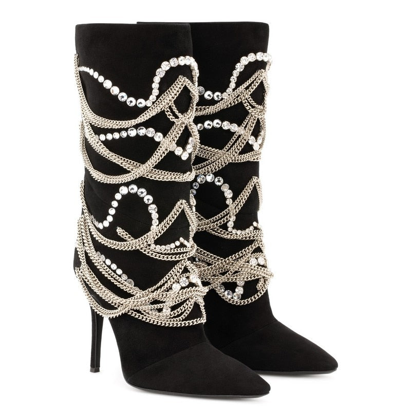 ... woman knee high boots metal chain bling bling crystal embellished 12 cm  super high heels catwalk ... 44a3c0a22f37