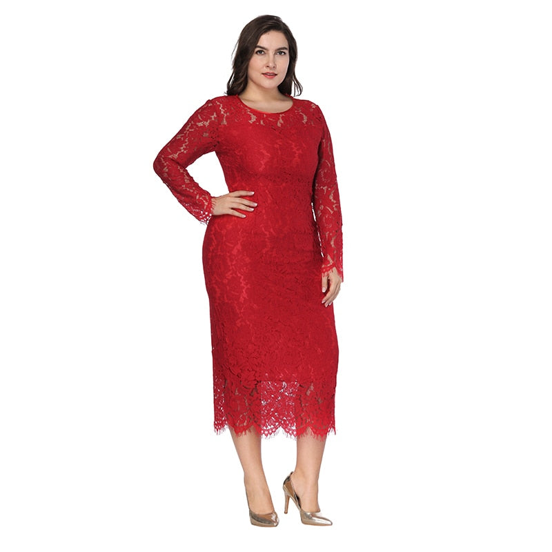22b0916e90 women Elegant black plus size lace dress Summer vestidos 6XL Long large  size dress Sexy evening party Big Size dresses white/red