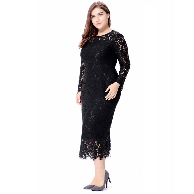 women Elegant black plus size lace dress Summer vestidos 6XL Long ...