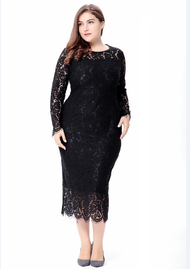 Women Elegant Black Plus Size Lace Dress Summer Vestidos 6xl Long