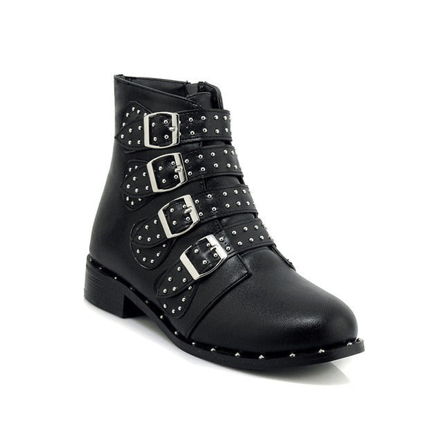 a701ed3a5238 Hover to zoom · women Rivets PU Leather Booties Buckle Straps Thick Heel  Black Ankle Women Boots shoes Studded Decorated