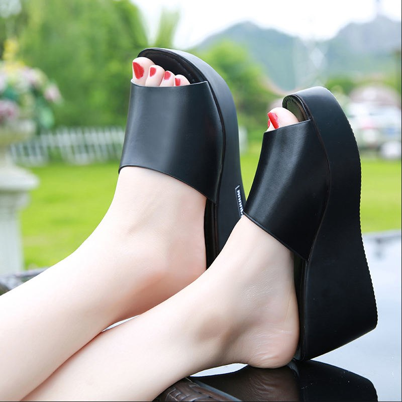 7499c84320 Hover to zoom · women Sandals 2018 Summer pu Leather Shoes Woman Wedges  Fashion Platform Slides Ladies Peep Toe shoes