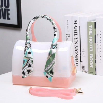 women bag jelly handbag Transparent candy beach bags 2018 bags for women Waterproof bucket bag vrouwen lederen handtassen boston