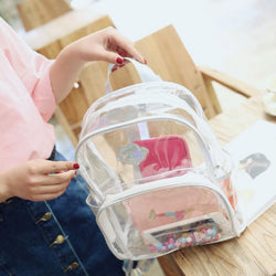 Women Min laser Transparent Backpack PVC clear School Shoulder Bag cute girl travel outdoor fashion backpack FFA630 5PC