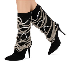 18c504020a3b zapatos de mujer 2018 Shoes Woman Mid-Calf Boots Leather Boots High Thin Heels  Pointed ...
